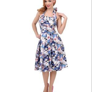 NWT UV 1950 Style Watercolor Floral Halter Dress